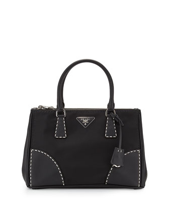 Tessuto and Saffiano Stitch Tote Bag, Black (Nero)