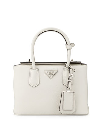 Saffiano Cuir Twin Bag, White (Talco)