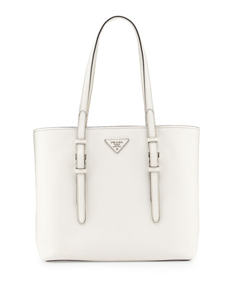 Saffiano Soft Tote Bag, White (Bianco)