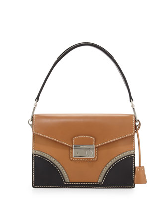 Vachetta Bicolor Shoulder Bag, Natural/Black (Naturale+Nero)