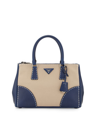 City Stitch Tote Bag, White/Navy (Corda+Navy)