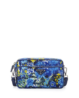 Tessuto Printed Crossbody Bag, Blue Floral (Bluette Dis Primule)