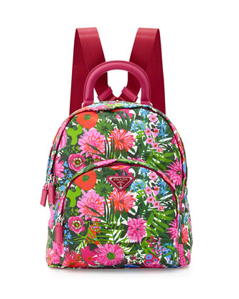 Tessuto Stampato Floral Backpack, Pink Floral (Pink Dis Primule)