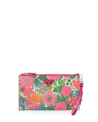Floral-Print Saffiano Wristlet, Multi (Pink dis Primule)
