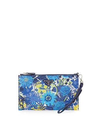 Floral-Print Saffiano Wristlet, Multi (Bluette dis Primule)