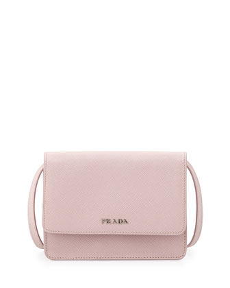 Saffiano Lux Crossbody Bag, Light Pink (Mughetto)