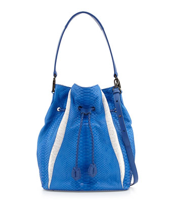 Celine Python/Suede Bucket Bag, Sapphire/White