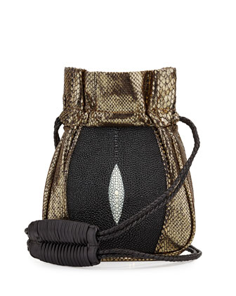 Mignonne Python/Stingray Pouch Bag, Gold/Black