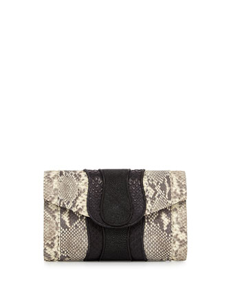Herzog Snake & Stingray Clutch Bag, Natural/Black