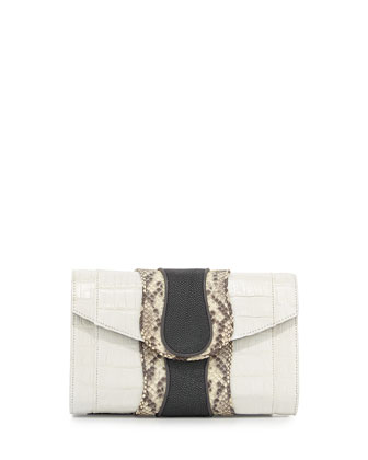 Herzog Croc, Snake & Stingray Clutch Bag, Natural/Ash