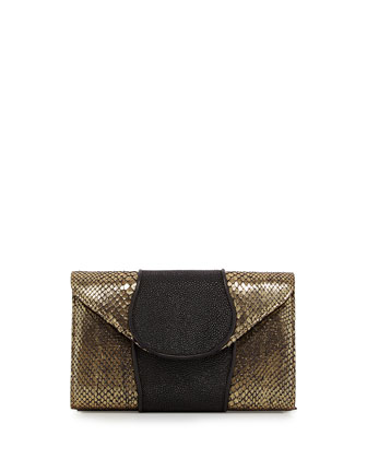 Babo Snake & Stingray Clutch Bag, Gold/Black