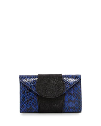 Babo Snake & Stingray Clutch, Ink/Black
