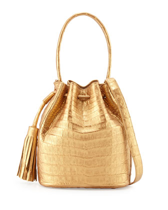 Small Crocodile Drawstring Bucket Bag