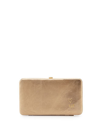 Astor Metallic Leather Clutch Bag/Wallet, Beige