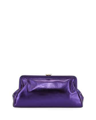 Beekman Metallic Clutch Bag, Purple Metal