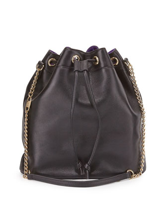Madison Leather Bucket Bag, Black