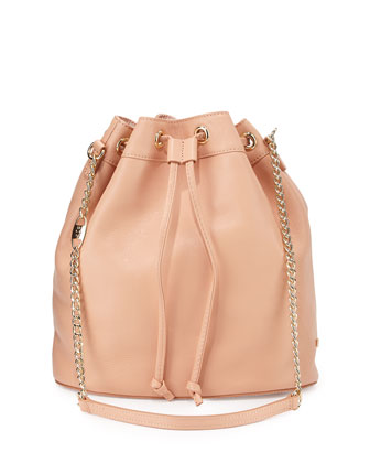Madison Leather Bucket Bag, Pink Bisque