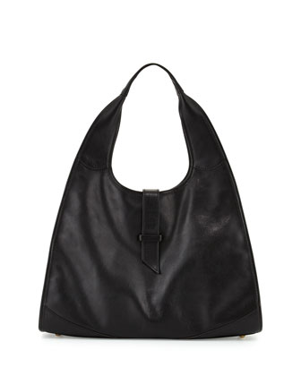 New Yorker Leather Hobo Bag, Black