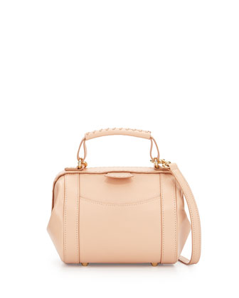 Waverly Hinged Satchel Bag, Pink Bisque