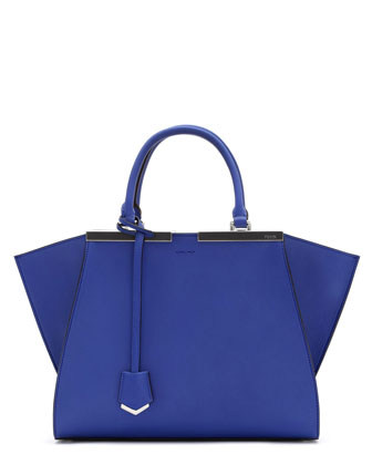 3 Jours Leather Satchel Bag, Neon Blue Royal