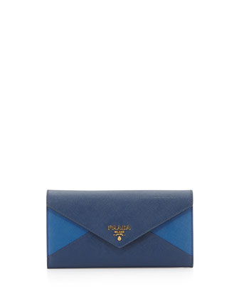 Colorblock Leather Continental Wallet, Blue/Cobalt (Bluette+Azuro)