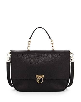 Pebbled Leather Flap-Front Satchel Bag, Black