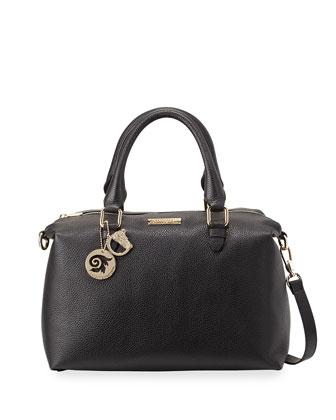 Leather Rolled-Handle Satchel Bag, Black