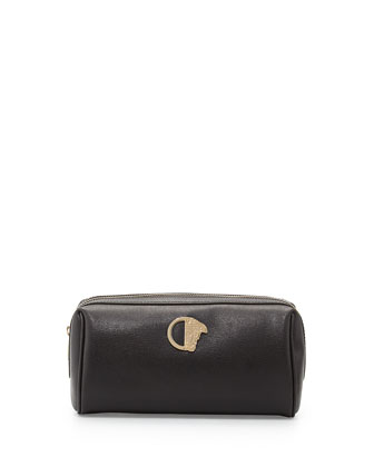 Zip-Top Leather Cosmetics Bag