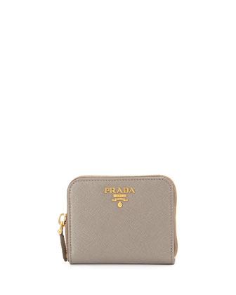 Saffiano Mini Leather Wallet, Gray (Argilla)