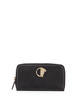 Saffiano Zip-Around Continental Wallet, Black