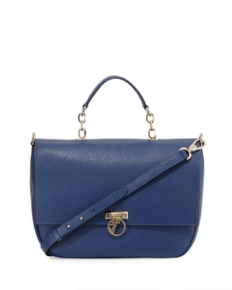 Pebbled Leather Flap-Front Satchel Bag, Bright Blue