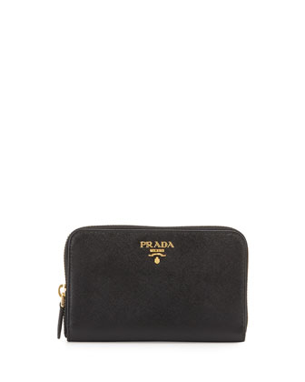 Saffiano Leather French Wallet, Black (Nero)