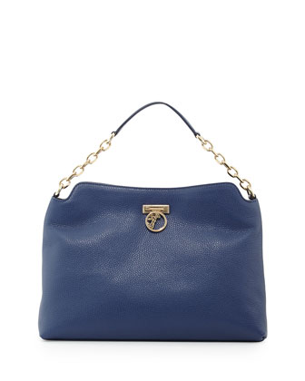 Pebbled Leather Hobo Bag, Bright Blue