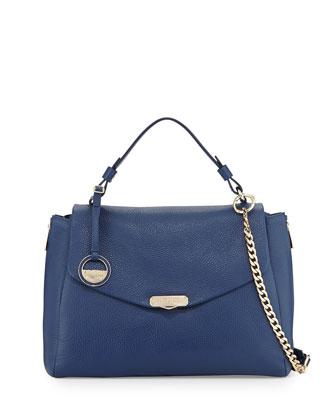 Top Handle Leather Satchel Bag, Blue
