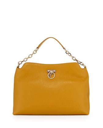 Pebbled Leather Hobo Bag, Yellow
