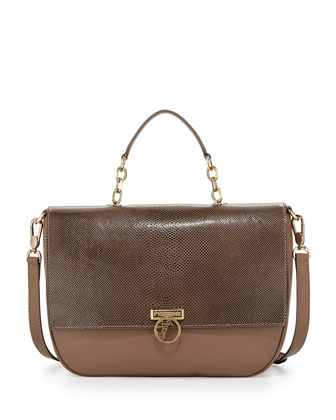 Smooth and Textured Leather Flap-Front Satchel Bag, Beige