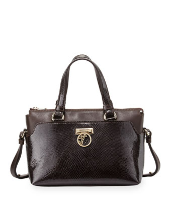 Two-Handle Crossbody Bag, Dark Brown
