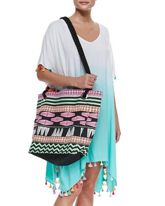 Tribal-Print Rope-Strap Tote Bag