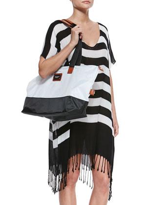 Longitude Striped Fringe-Hem Coverup & Colorblock Nylon Overnight Bag