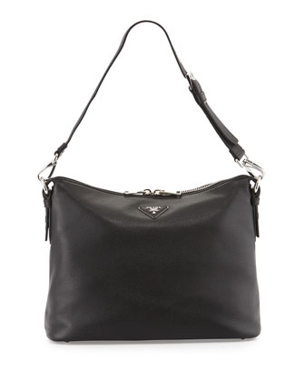 North-South Large Hobo Bag, Black (Nero)
