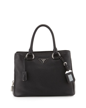East-West Medium Satchel Bag, Black (Nero)