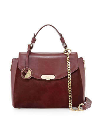 Top Handle Leather Satchel Bag, Bordeaux