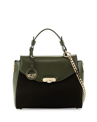 Small Top Handle Leather Satchel Bag, Forest Green