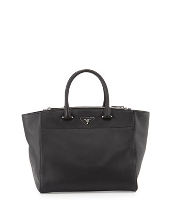 Calf East-West Large Satchel Bag, Black (Nero)