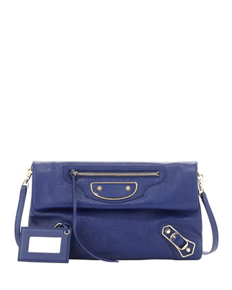 Classic Metallic Edge Envelope Clutch Bag, Bleu Roi