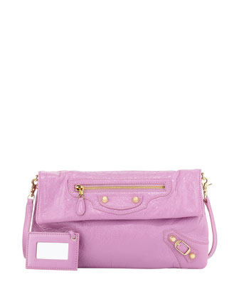 Giant 12 Golden Envelope Crossbody Bag, Rose Bubble Gum