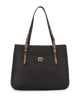 Squishee Jav II Snake-Embossed Tote Bag, Black/Tan