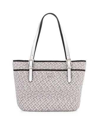 Jav Squishee Metallic Tote Bag, Silver/Black