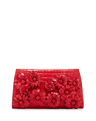 Slicer Crocodile Flower-Applique Clutch Bag, Red