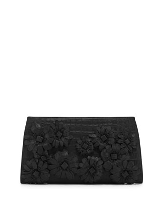 Slicer Flower-Applique Crocodile Clutch Bag, Black